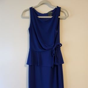 Royal blue tiered side tie knee length dress